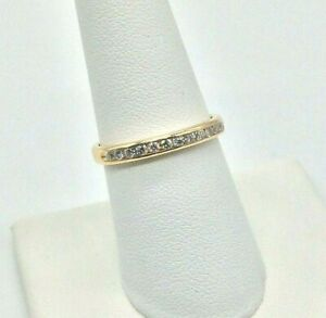 Diamonds Ladies Stackable Wedding Band Solid 14k Yellow Gold, Excellent