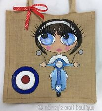 Personalised Handpainted Retro MOD Girl On A Vespa Jute Handbag Hand Bag Gift