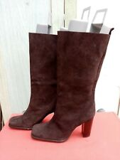 TIMELESS WOMEN'S BROWN SUEDE LEATHER HEELED PULL ON BOOTS SIZE UK6
