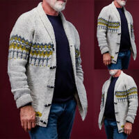 Mens Knitted Thick Shawl Collar Vintage Knitwear Cardigan Sweater Coat Outwear