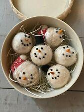 Primitive Vintage Style Snowman Ornaments & Decorative Christmas Box