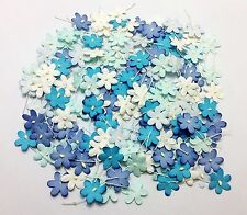 200 pcs Mixed Blue Colors4 Mini Flowers Paper Card Making Scrapbooking Crafts