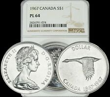 1967 CANADA GOOSE SILVER $1 DOLLAR NGC PL64 CAMEO PROOF LIKE COIN!