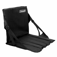 Folding Stadium Seat Chair Coleman Compact Back Support Football Bench Pad Black