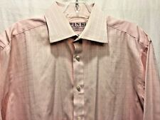 Thomas Pink 16 36  Mens Shirt Jermyn Street London 100% Cotton Dress Pink Check