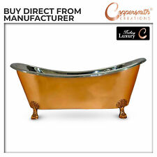 COPPER BATHTUB CLAWFOOT SHINY COPPER OUTSIDE AND NICKEL INSIDE 1828.80 mm