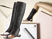 Christian Louboutin From Sand Black Leather Gladiator Thong Flat Sandal Bootie