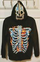 FSD Black NWOT  Skeleton Kids Zip Up Full Face Skull Hoodie Jacket Sz XL