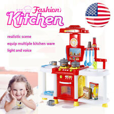 Child Kids Wood Kitchen Toy Cooking Pretend Play Set Toddler Education WY