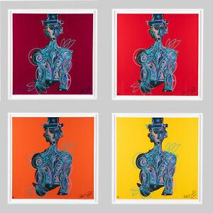 LEON LÖWENTRAUT :  4 x BLUE MAN - HANDSIGNIERT - NUMMERIERT - KOMPLETTES SET