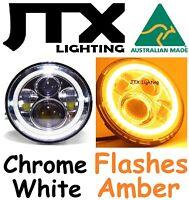 "7"" LED CHROME Headlights White Halo Ford LTD Fairmont Fairlane flashes AMBER"