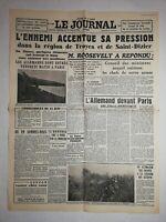 N1147 La Une Du Journal Le journal 16 juin 1940 l'ennemi accentue sa pression