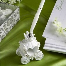 Wedding Pen and Holder for Guest Register Signature Resin with Rhinestone White