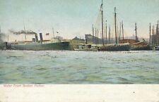 BOSTON MA - Boston Harbor Waterfront Water Front Glitter Covered Postcard - udb