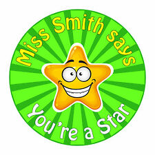 80 Personalised Teacher Reward Stickers for Pupils You're a Star in green
