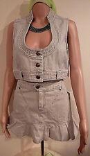 Horse Shoe VEST Mini Skirt Set Jean Denim Women S M Vintage 90s France Boutique