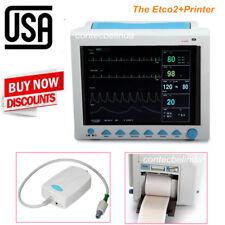 US 7-Parameters Vital Signs ICU Patient Monitor+Capnography ETCO2+Printer FDA CE
