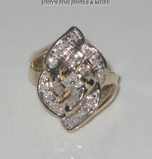 SENSATIONAL ESTATE 10K YELLOW GOLD BAGUETTE DIAMOND COCKTAIL RING Size 4.25