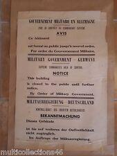 AFFICHE Guerre 39/45 - 030717 - Gouvernement militaire en Allemagne - AVIS