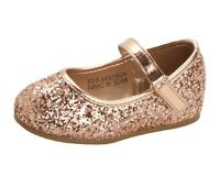 GIRLS ROSE GOLD GLITTER BRIDESMAID WEDDING PARTY PUMPS SHOES KIDS UK SIZE 4-10