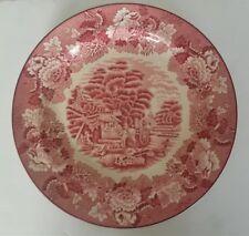 "Wood & Sons Woods Ware Pink Transferware Enoch Woods England 10"" Dinner Plate"