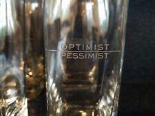 (4) Optimist Pessimist Wam!Net Cocktail Drinking Glass Barware Tumbler Set NEW