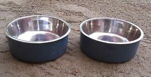 New Lot of 2 Boots & Barkley Large Speckle Melamine Dog Bowls Blue
