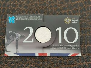 2010 Countdown to London Olympics Five Pounds £5 coin Brilliant Uncirculated UK