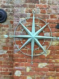 Large Aged Verdigris Style Vintage Wall Hanging Compass Stunning