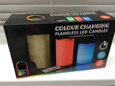 NEW Set of 3 Flameless LED Colour Changing Pillar Candles Real Wax inc Remote