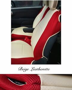 CAR SEAT COVERS (2 pcs) | Made for FIAT 500| Leatherette & Synthetic | Red-Beige