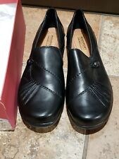 Nice NEW Rockport Womens Paulette Flat Black Leather Pull On Shoes Size 8M