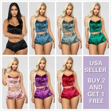 2PCS Glitter Velvet set Women Sexy Lingerie Nightwear Sleepwear Babydoll