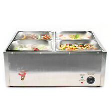 Electric Bain Marie Commercial Food Warmer Buffet Steam Table Steamer 850w 4 Pot