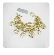 GUESS Gold Tone Logo Charms Bracelet Rhinestones NEW