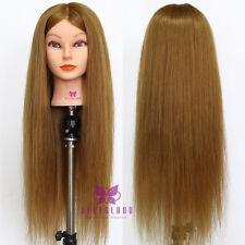 "Salon Head Doll 90% Real Hair 26"" Training Head Mannequin Hairdressing + Clamp"