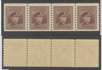 MNH Canada 2 Cent Perf 9.5 War Coil Strip of 4 #279 (Lot #rn8)