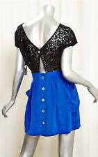 MYNE Royal Blue Silk Black Lace Detail Short Sleeve 2 Pocket Mini Dress 0 NEW
