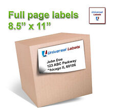 "(15) 8.5"" x 11"" Full Page shipping label - Inkjet & Laser - Made in USA"