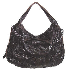 Luxcessories Dark Brown Real Leather Hobo Diamond Metal Stud Purse Handbag