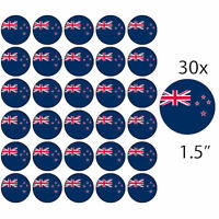 """NEW ZEALAND WORLD CUP KIWI FLAGS 30 x 1.5"""" PREMIUM Rice Paper Cake Toppers"""