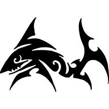 Tribal Shark Vinyl Sticker Decal Fish Hawaii Surf -Choose Size & Color
