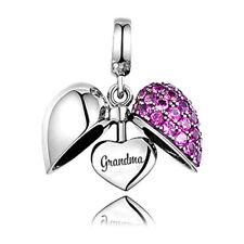 GRANDMA Love Heart Charm Solid 925 Sterling Silver Charm Fits Bracelet Purple