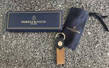 Fairfax & Favor Leather Key Ring Tan Navy Blue New