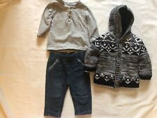 VICROAD Baby Cardigan Hooded Coats Boys Girls Stripe Knitted Jacket Warm Sweater