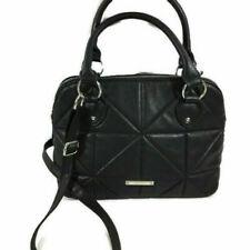 Nine West Purse Black Vegan Quilted Leather Cross Body Bag  Adjustable Strap EUC