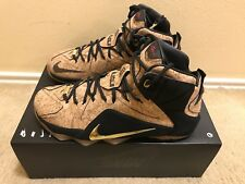 Nike LEBRON XII EXT CORK MENS Sz 10.5 NATURAL BLACK METALLIC GOLD 768829 100
