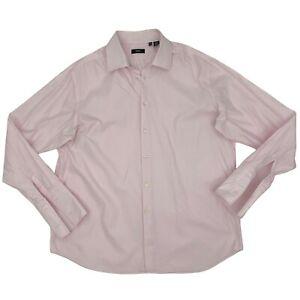 Hugo Boss Dress Shirt Men's Size 18 Pink Long Sleeve 100% Cotton Button Up