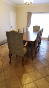 Reproduction rustic hardwood 9 piece dining setting