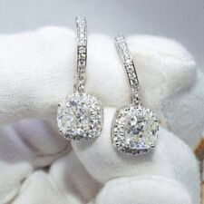 Gold 3 Ct Cushion Cut Certified Moissanite Drop/Dangle Earrings Solid 14K White
